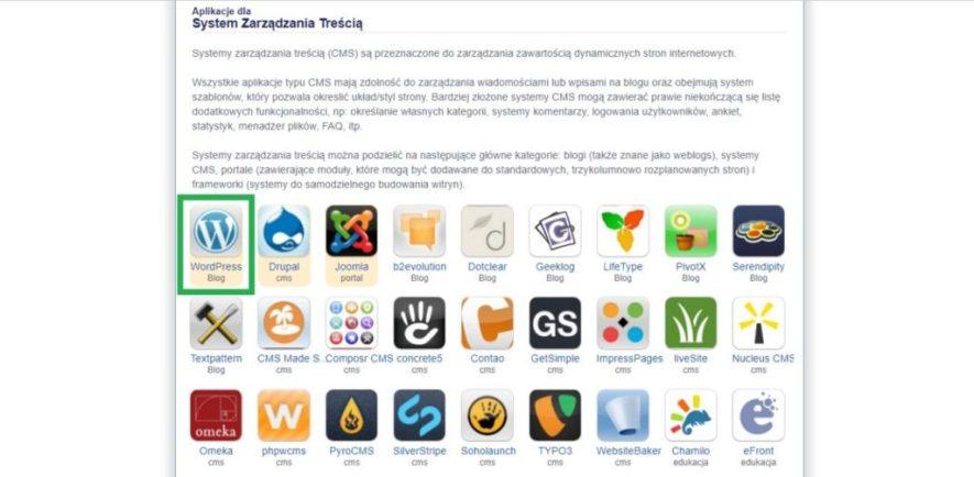 Aplikacja dla systemu zarządzania treścią WordPress blog w direct admin