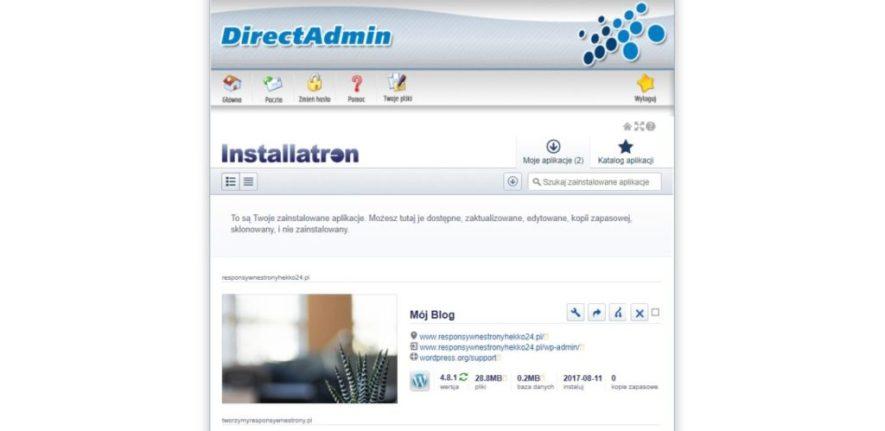 Instalacja WordPressa na stronie w Direct Admin zakończona