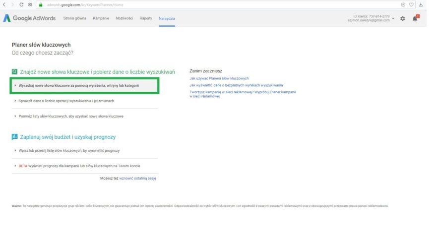 Jak wyszukać słowa kluczowe w Planner słów kluczowych Google
