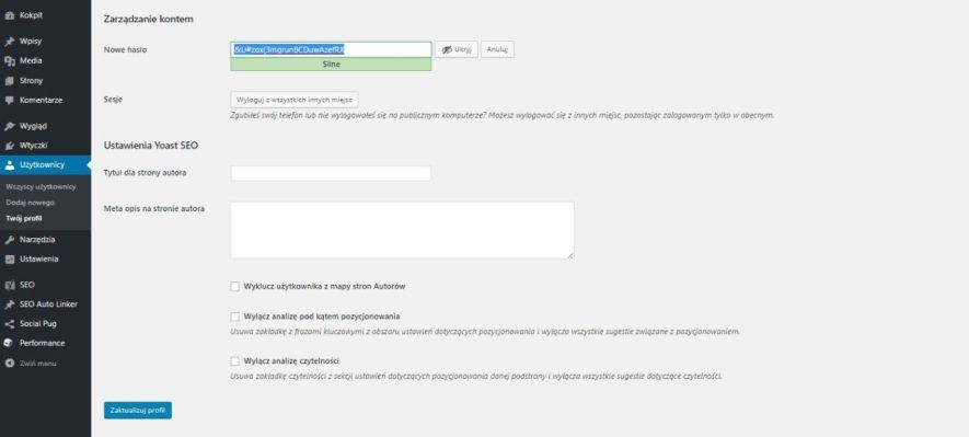 Zapisanie nowego bezpiecznego hasła w wordpressie