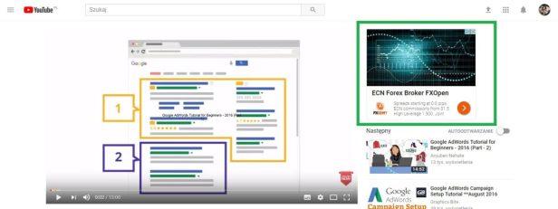 Reklama Adwords na youtube po prawej stronie jako grafika sponsorowana