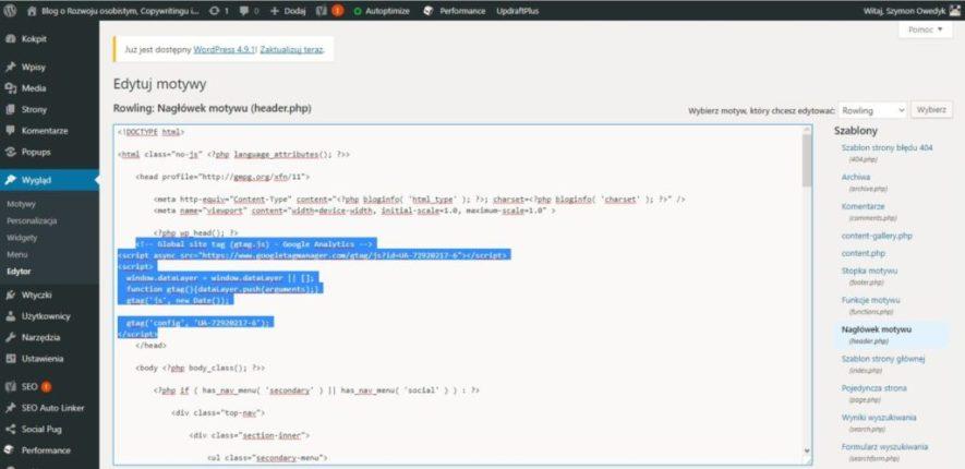 Dodanie bloga do google analytics kod śledzenia w nagłówku motywu header