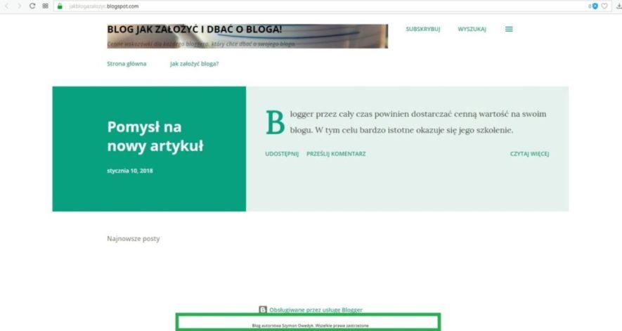 jak założyć bloga na blogspot - informacje o źródle bloga czyli stopka część 3