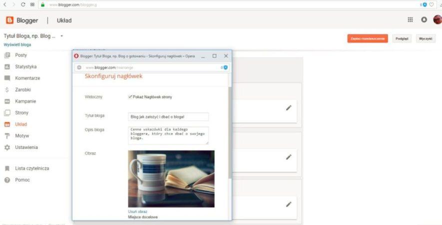 jak założyć bloga na blogspot - opis bloga, logo i tytuł
