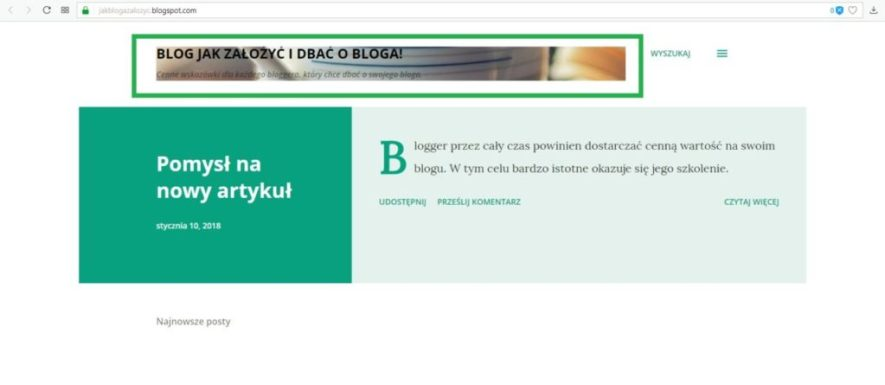 jak założyć bloga na blogspot - opis bloga, logo i tytuł testowanie