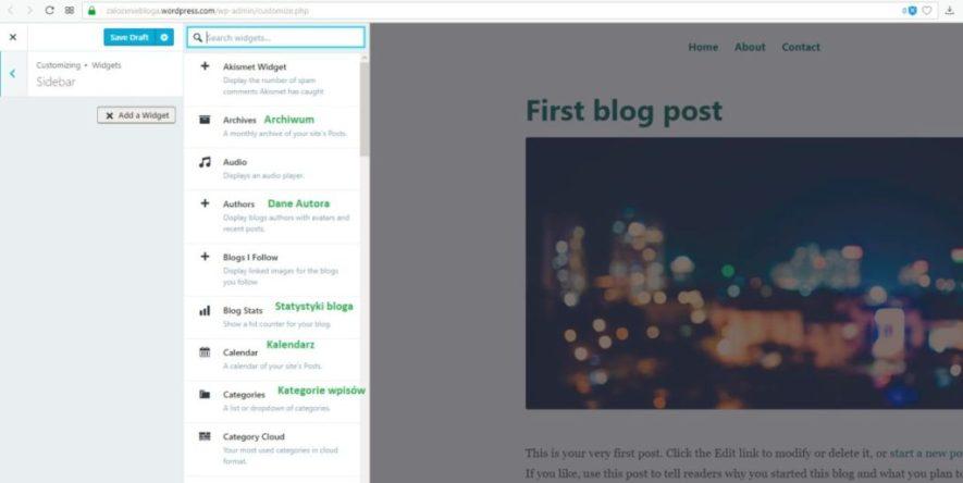 założenie bloga na wordpress.com - sidebar dodaj widget kolumnę po prawej stronie część 2