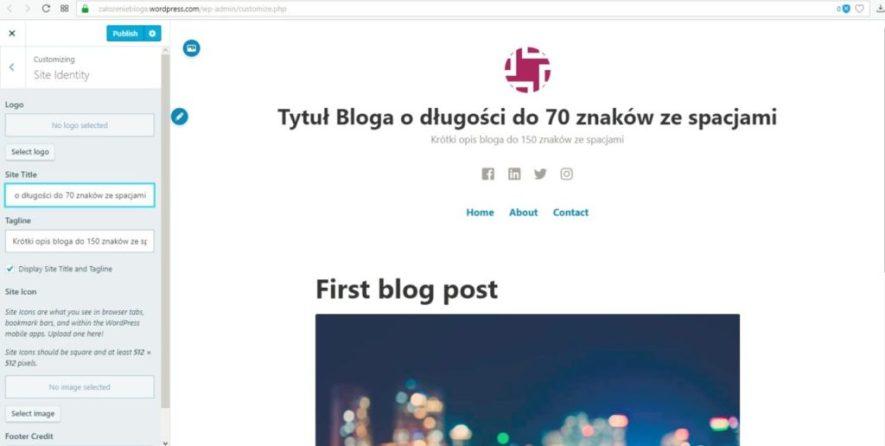 założenie bloga na wordpress.com - tytuł i opis bloga