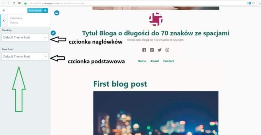 założenie bloga na wordpress.com - ustawiamy czcionkę nagłówków i podstawową