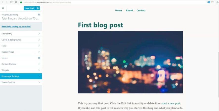 założenie bloga na wordpress.com - ustawienia strony głównej