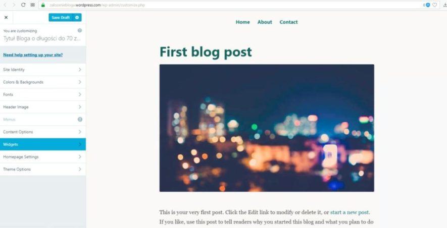 założenie bloga na wordpress.com - widgety kolumny na blogu