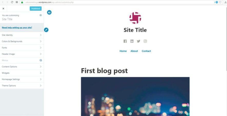 założenie bloga na wordpress.com - zmiana wyglądu personalizacja
