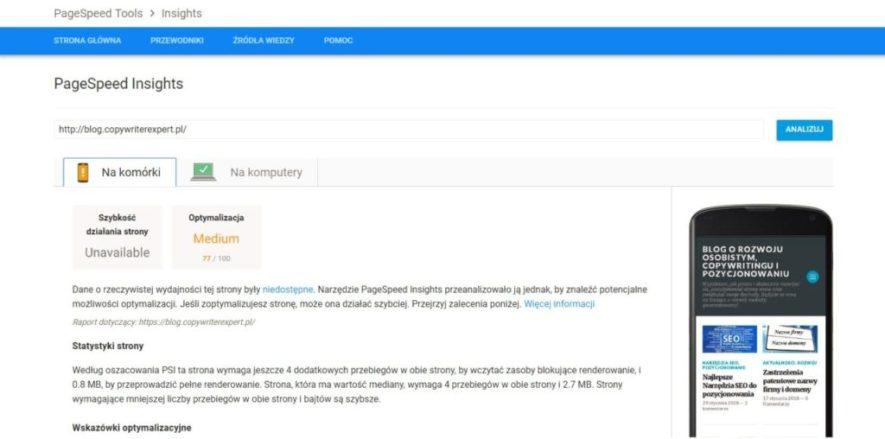 page speed insight szybkość ładowania strony bloga na urządzenia mobilne, wyniki