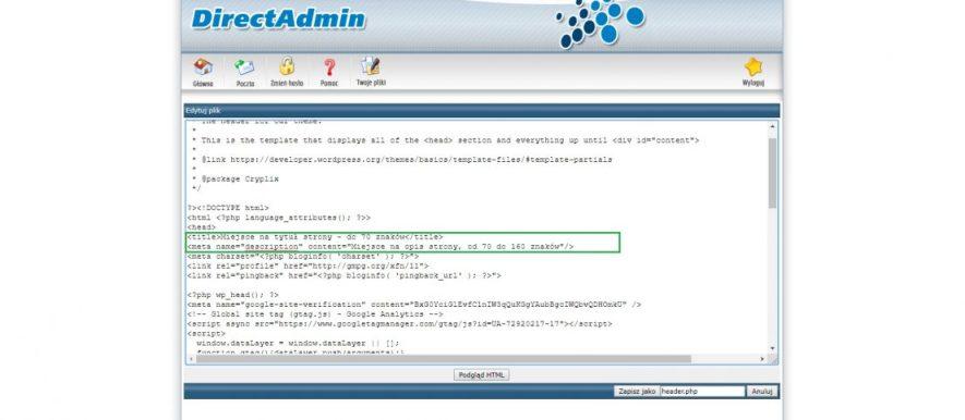 Tytuł i opis strony html php i innej