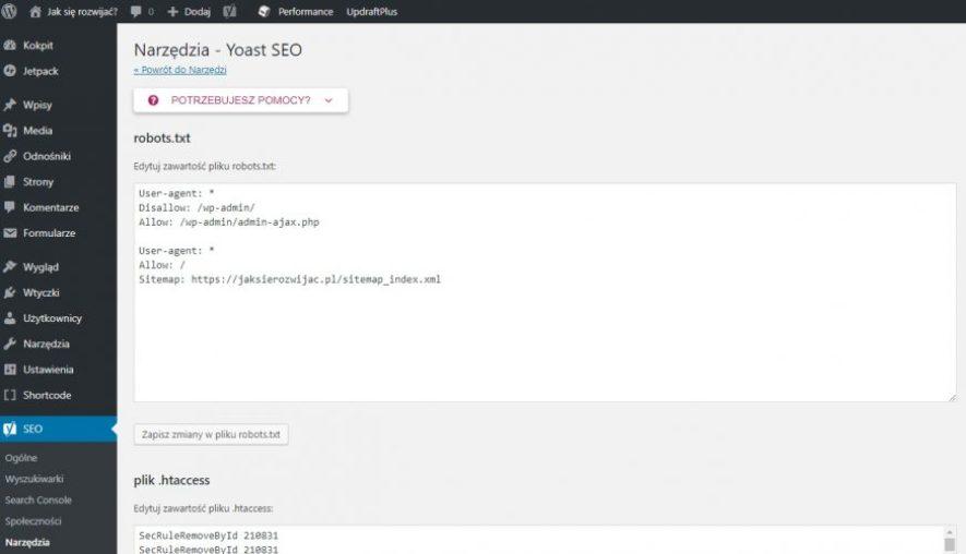 Wtyczka Yoast SEO - utworzenie pliku robotstxt