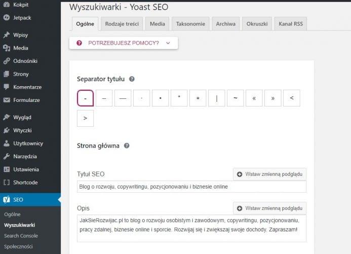 ustawienie tytułu i opisu strony wtyczką yoast seo