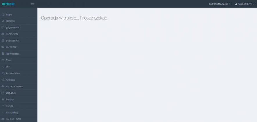 instalacja wordpressa w hostingu atthost 4