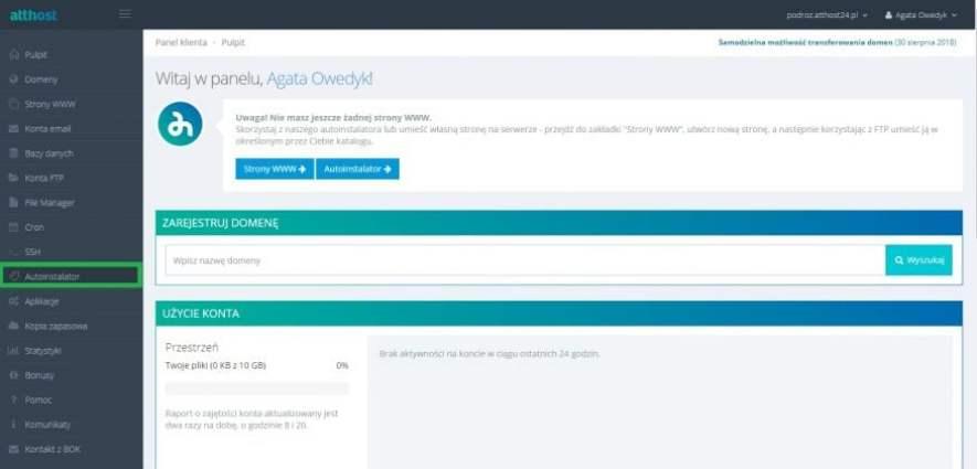 instalacja wordpressa w hostingu atthost