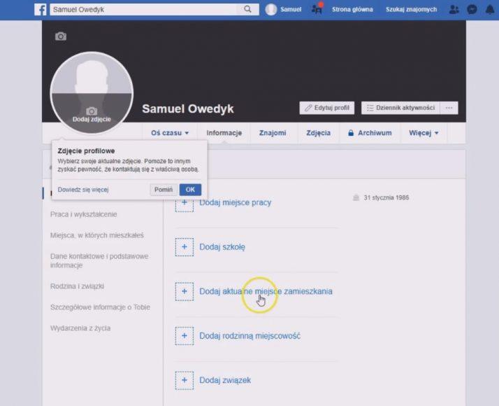 jak ustawić konto na facebooku - wprowadź informacje o koncie fb