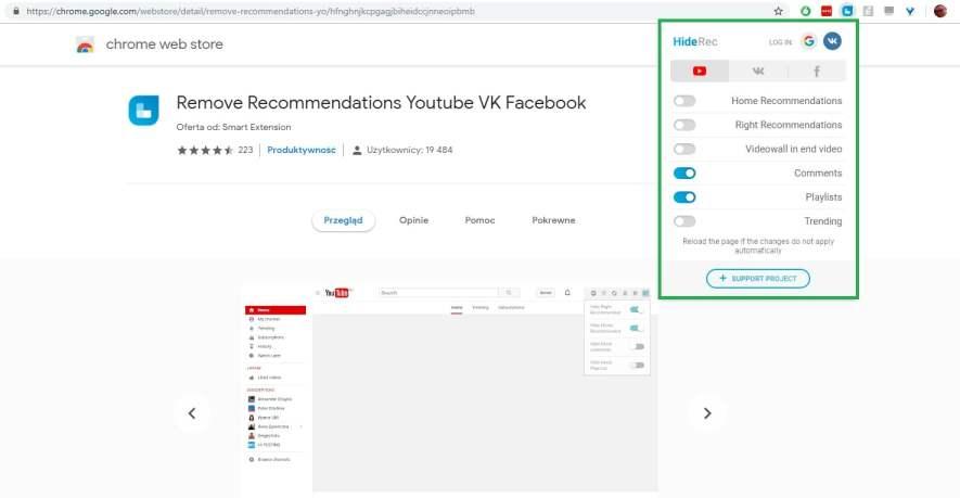 usuń rekomendacje youtube przez wtyczkę chrome i firefox remove recommendations youtube - część 2