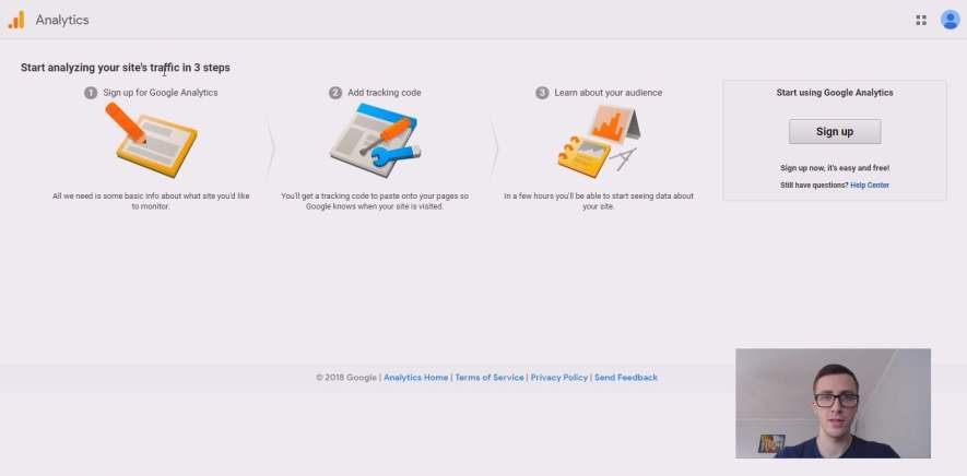 utworzenie konta google analytics przez konto gmail