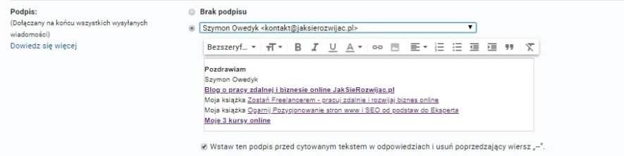 Moja stopka promująca strony www i zapis do listy mailingowej na blogu