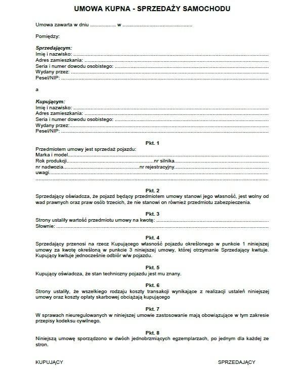 umowa kupna-sprzedaży samochodu auta pojazdu wzór ogólna