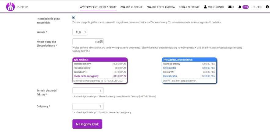 wystawienie Faktury VAT przez Freelancera z serwisu Useme