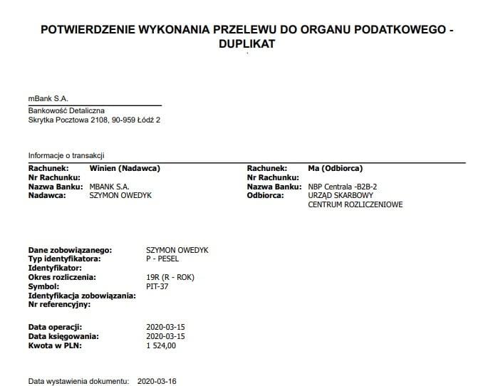 potwierdzenie wykonania przelewu do Urzędu Skarbowego za podatek z przychodów z innych źródeł za cały rok