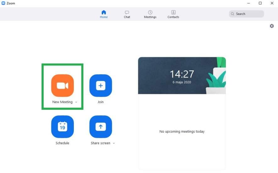 tworzenie własnego spotkania w aplikacji Zoom do wideokonferencji