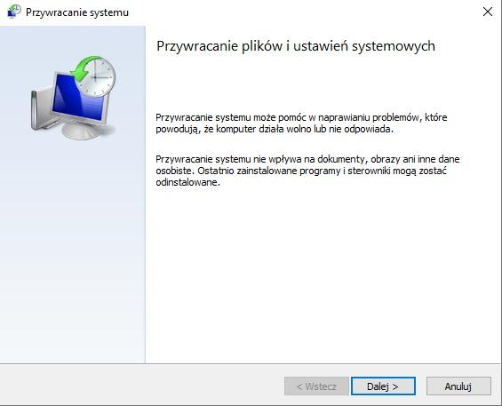 Dalsze przywracanie plików i ustawień systemowych Windows 10, 7, 8 i 8.1
