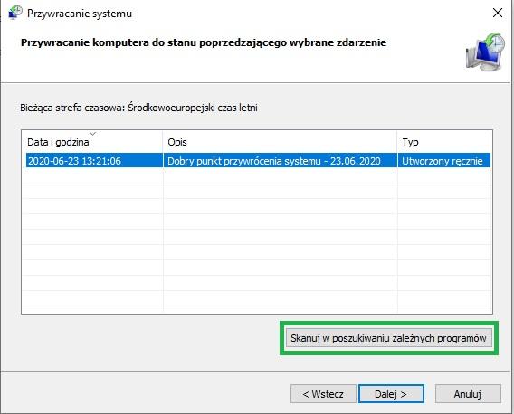 przywracanie komputera do poprzedniego systemu Windows