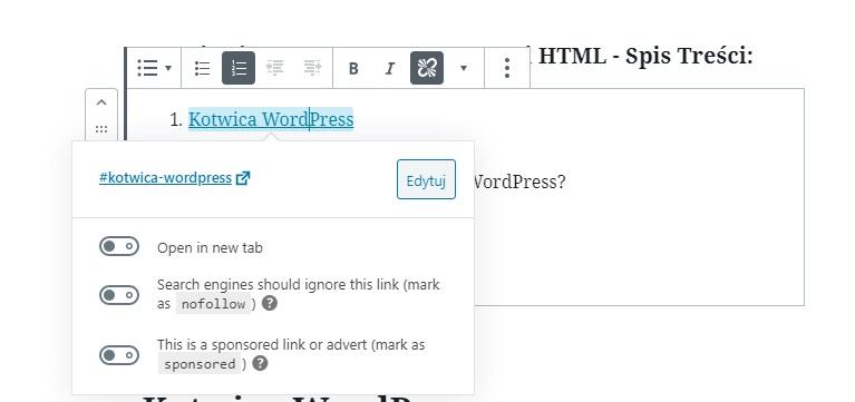 odsyłacz HTML do kotwicy WordPress
