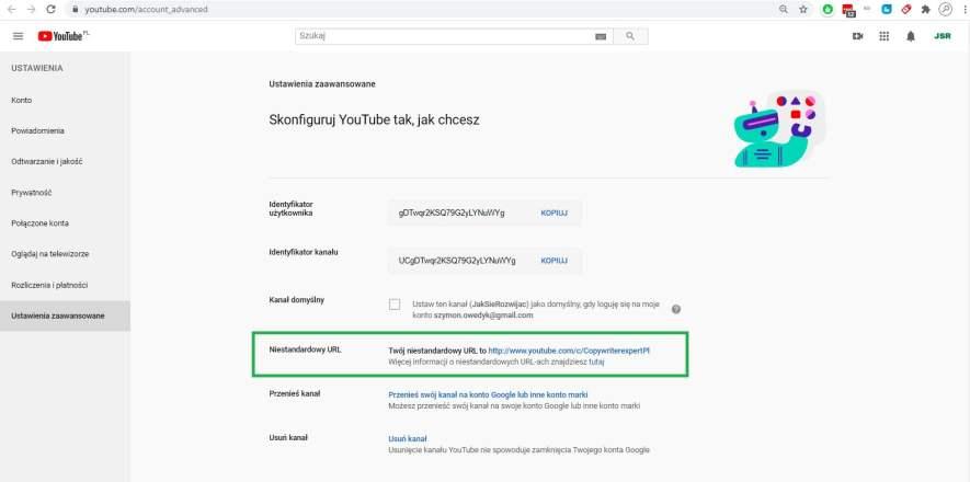 Zmiana adresu URL kanału YouTube YT część 1