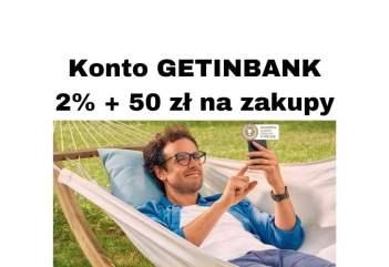 GetInBank Promocje - Konto Proste Zasady to 2% + 50 zł lub 800 zł