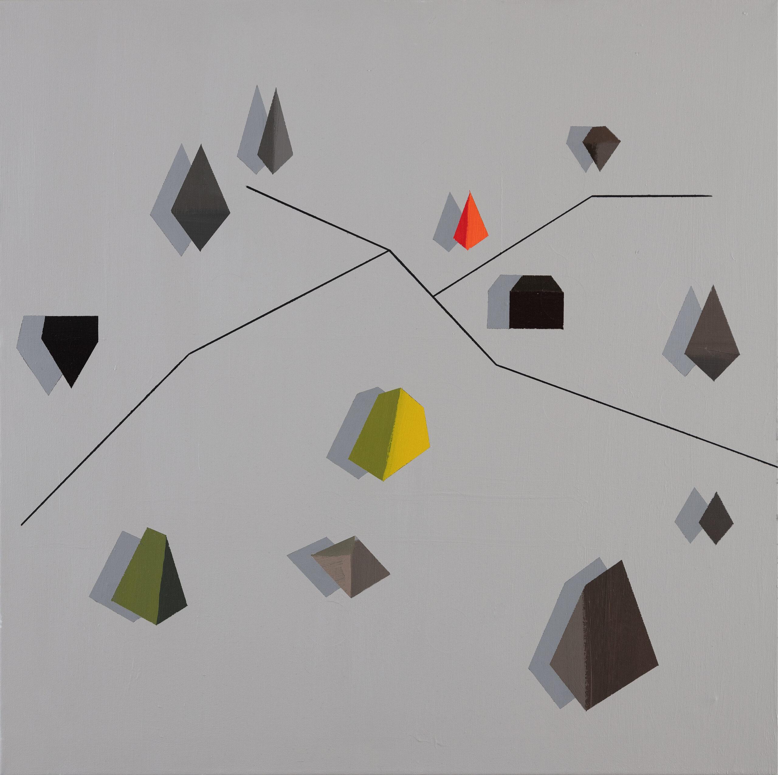 plánek tábora / camp map, 80x80 cm, akryl na plátně / acrylic on canvas, 2021