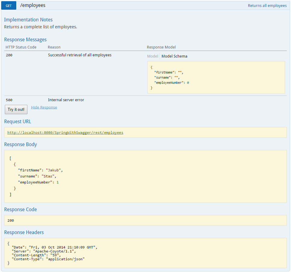 Spring Rest API with Swagger - Exposing documentation