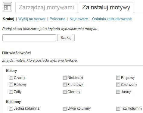 Wyszukiwarka motywów | Przesyłanie na serwer motywów