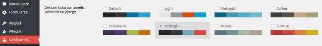 Zestaw kolorów panelu administracyjnego WordPress 3.8