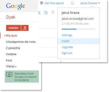 Instalacja aplikacji Dropbox i Google Drive