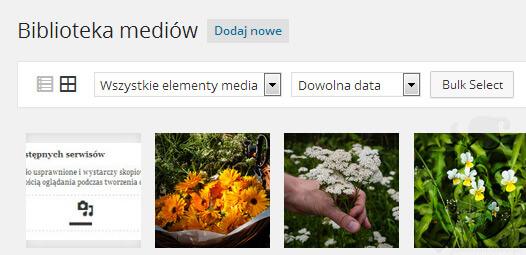 Biblioteka mediów jako kafelki | WordPress 4.0 Benny