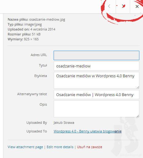 Edycja mediów | WordPress 4.0 Benny