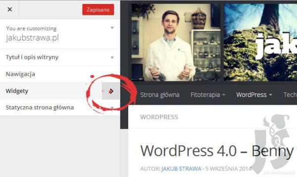 Nowy pasek widgetów | WordPress 4.0 Benny
