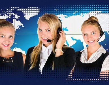 call center, headset, woman