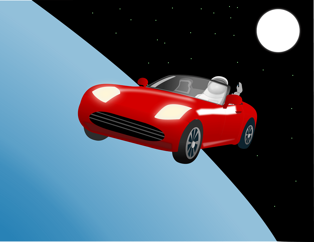 car, roadster, space