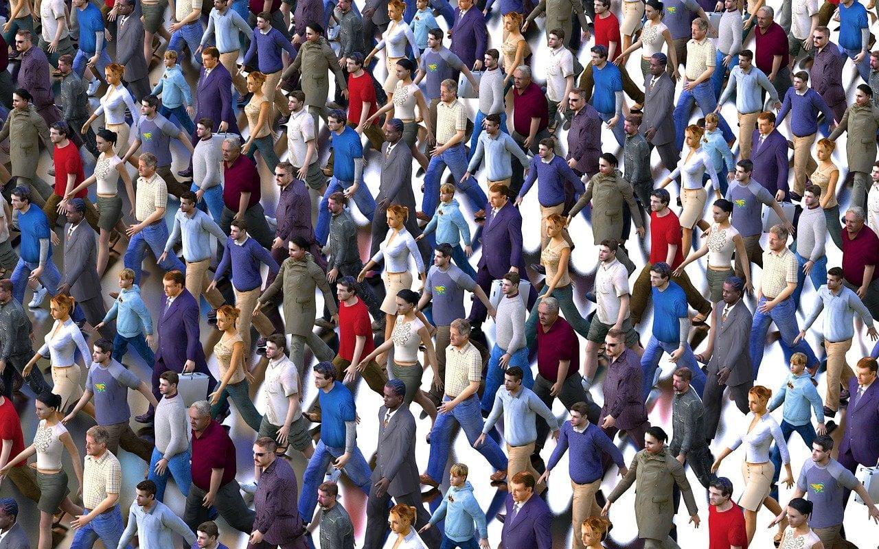 crowd, men, women