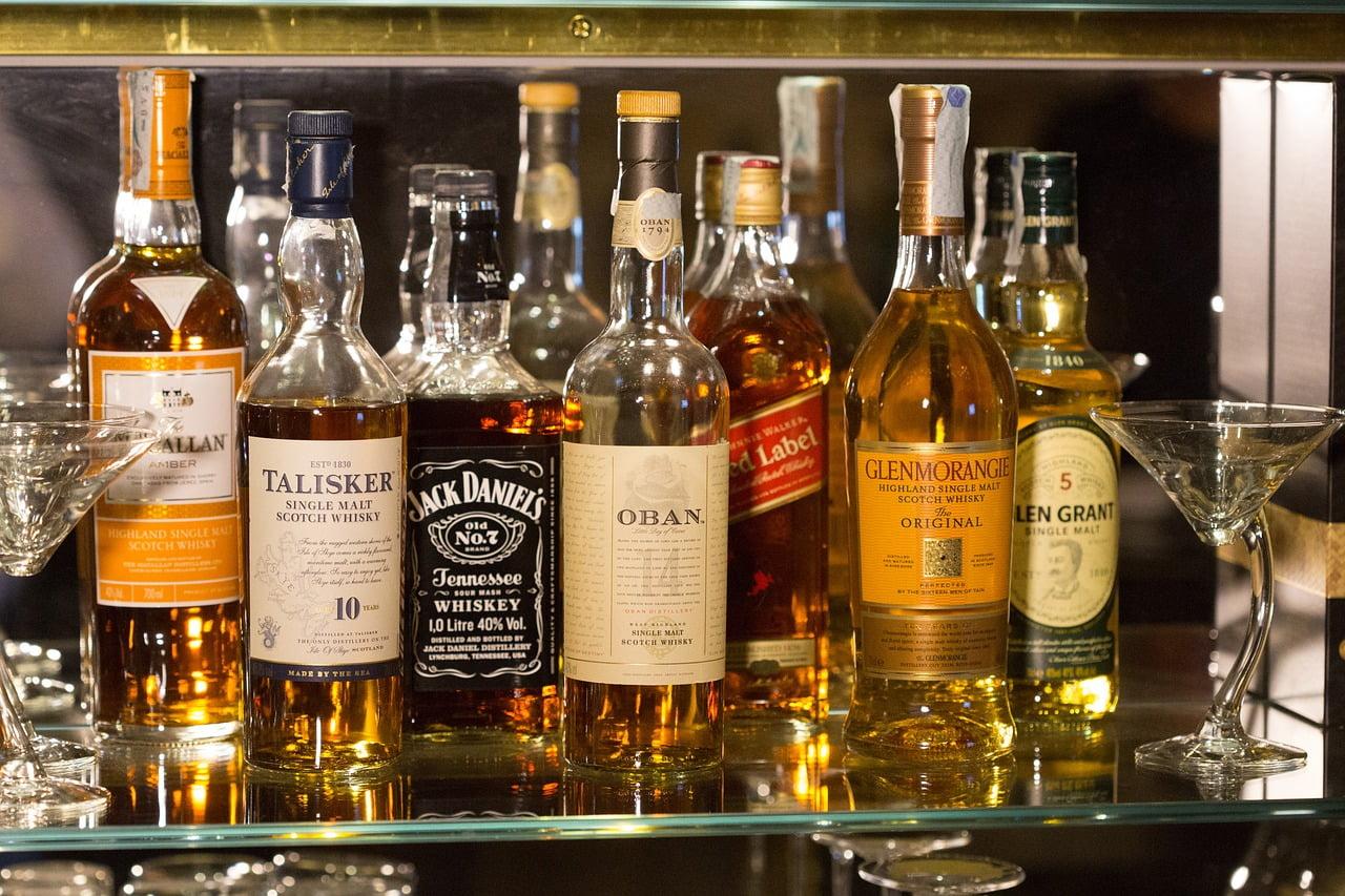 bottles, whisky, glass