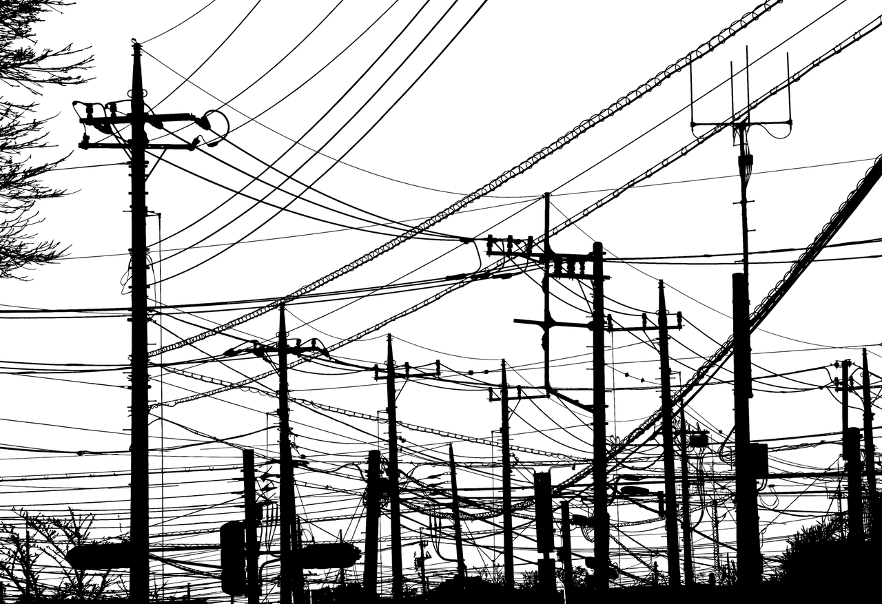 power lines, telephone poles, silhouette