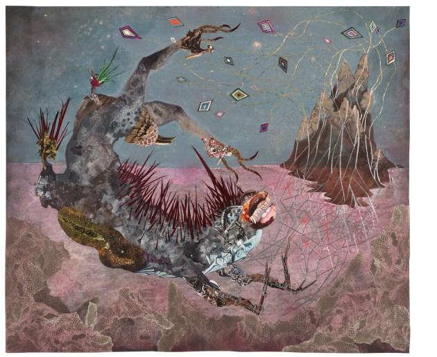 The screamer island dreamer, 2014 Collage painting on vinyl Unframed: 184.8 x 154.9 cm 723/4x61in Framed: 199.5 x 169.5 x 7.3