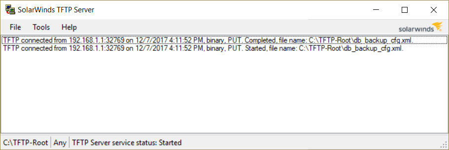 Server showing that the file was transported successfully