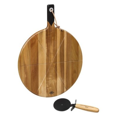 Pizza Serving Board & Pizza Cutter, 380mm Round